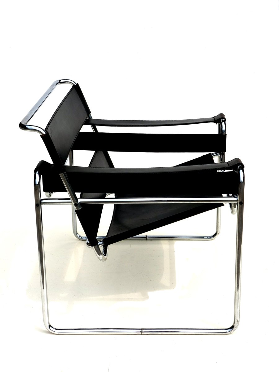 Wassily Chair Bauhaus Black Leather Wassily Chair By Marcel Breuer For Gavina 1960s