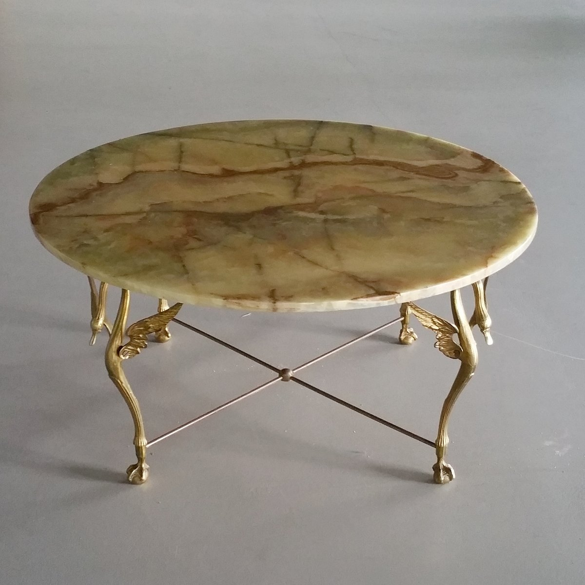 Brass Swan Coffee Table with Onyx Top, 1960s for sale at