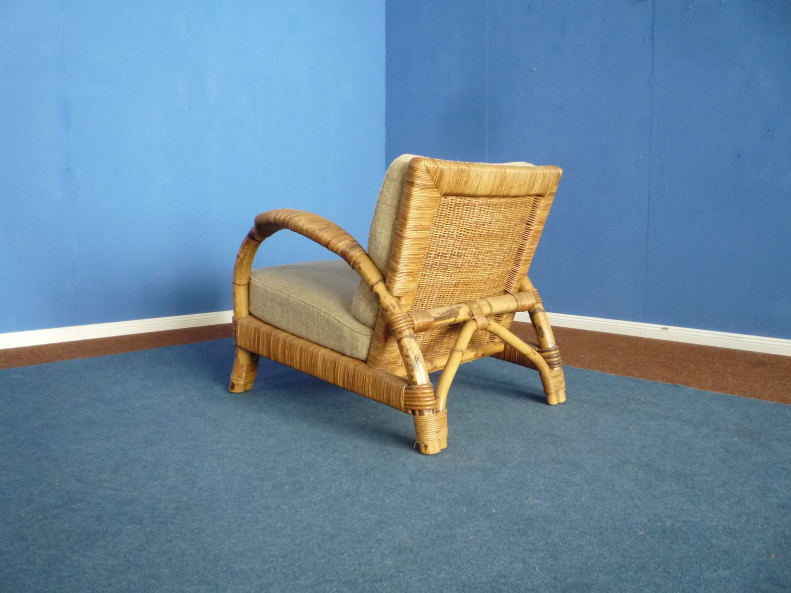 Arco Sessel Rattan Bamboo Armchair Footstool From Arco 1940s
