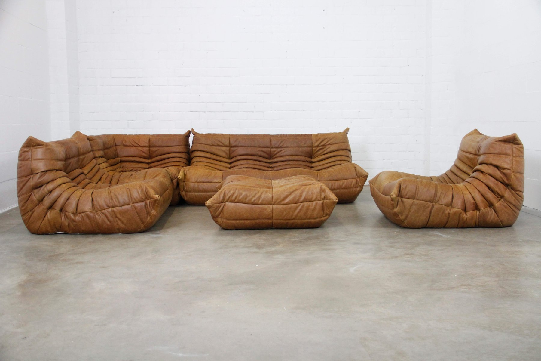 Ligne Roset Sofa Vintage Cognac Leather Togo Modular Sofa Set By Michel Ducaroy For Ligne Roset