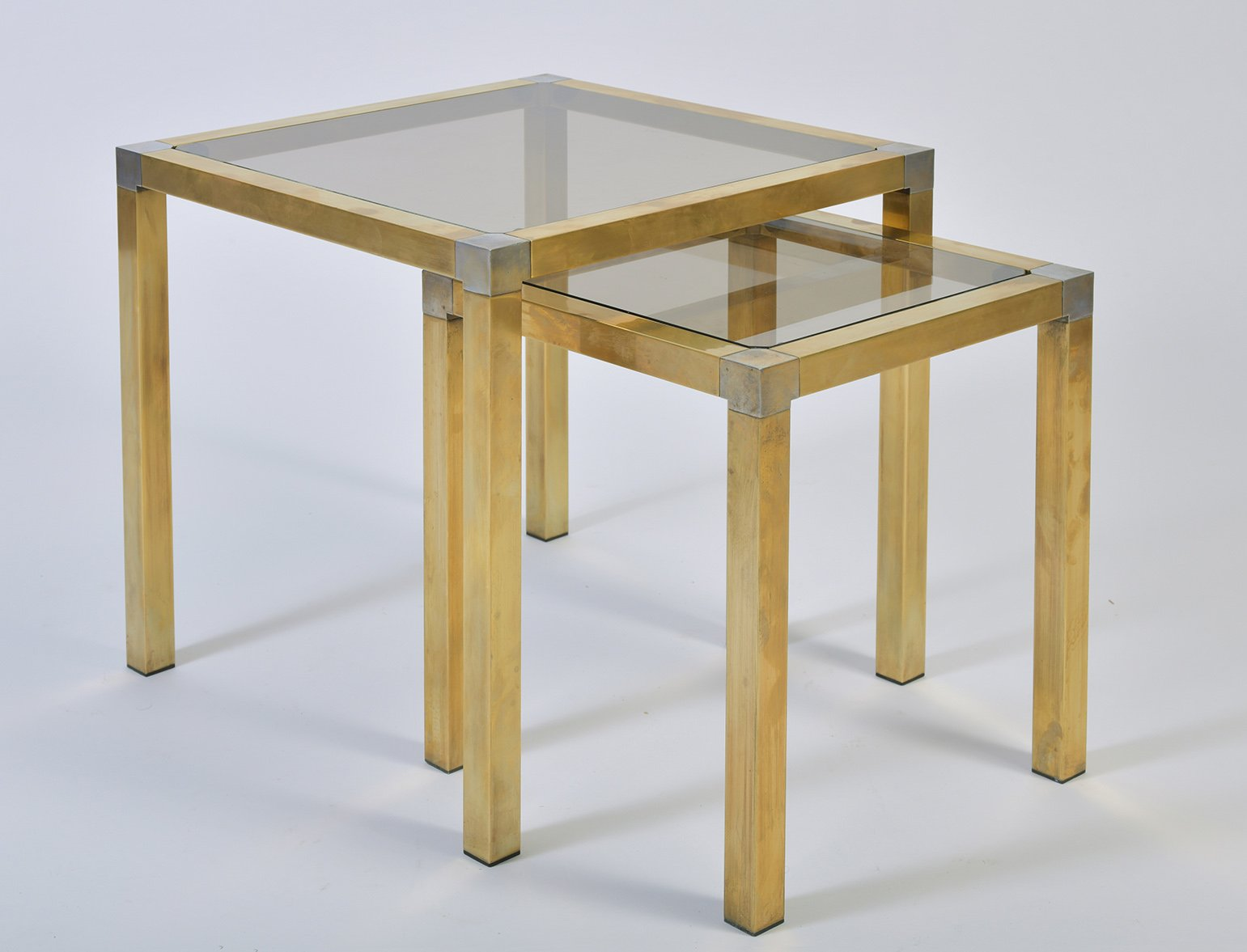 Glass Nesting Tables Brass Smoked Glass Nesting Tables 1950s