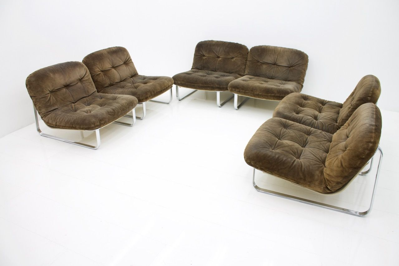 Lounge Sessel Wildleder Slipper Sessel Aus Chrom Wildleder 1970er 6er Set