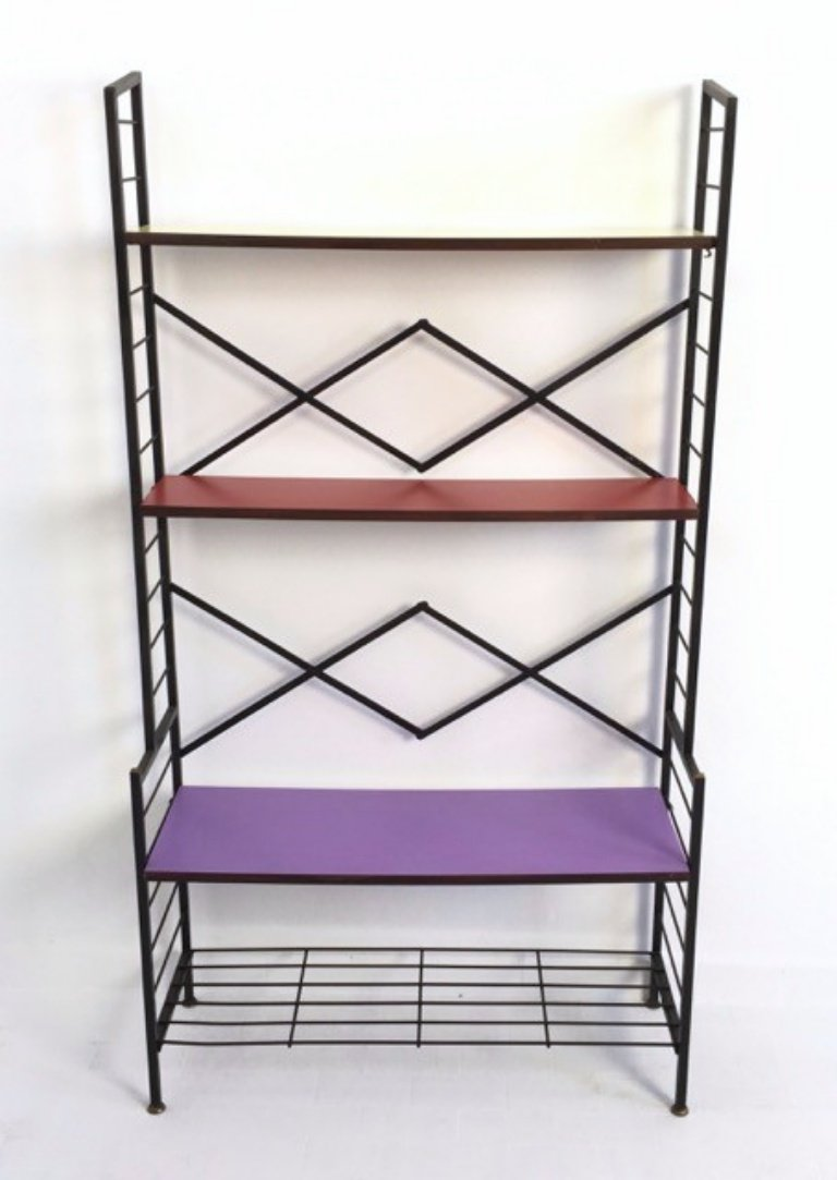 Etagere Otto Italian Iron Ètagerè With Shelves In Purple Red Yellow Formica 1960s