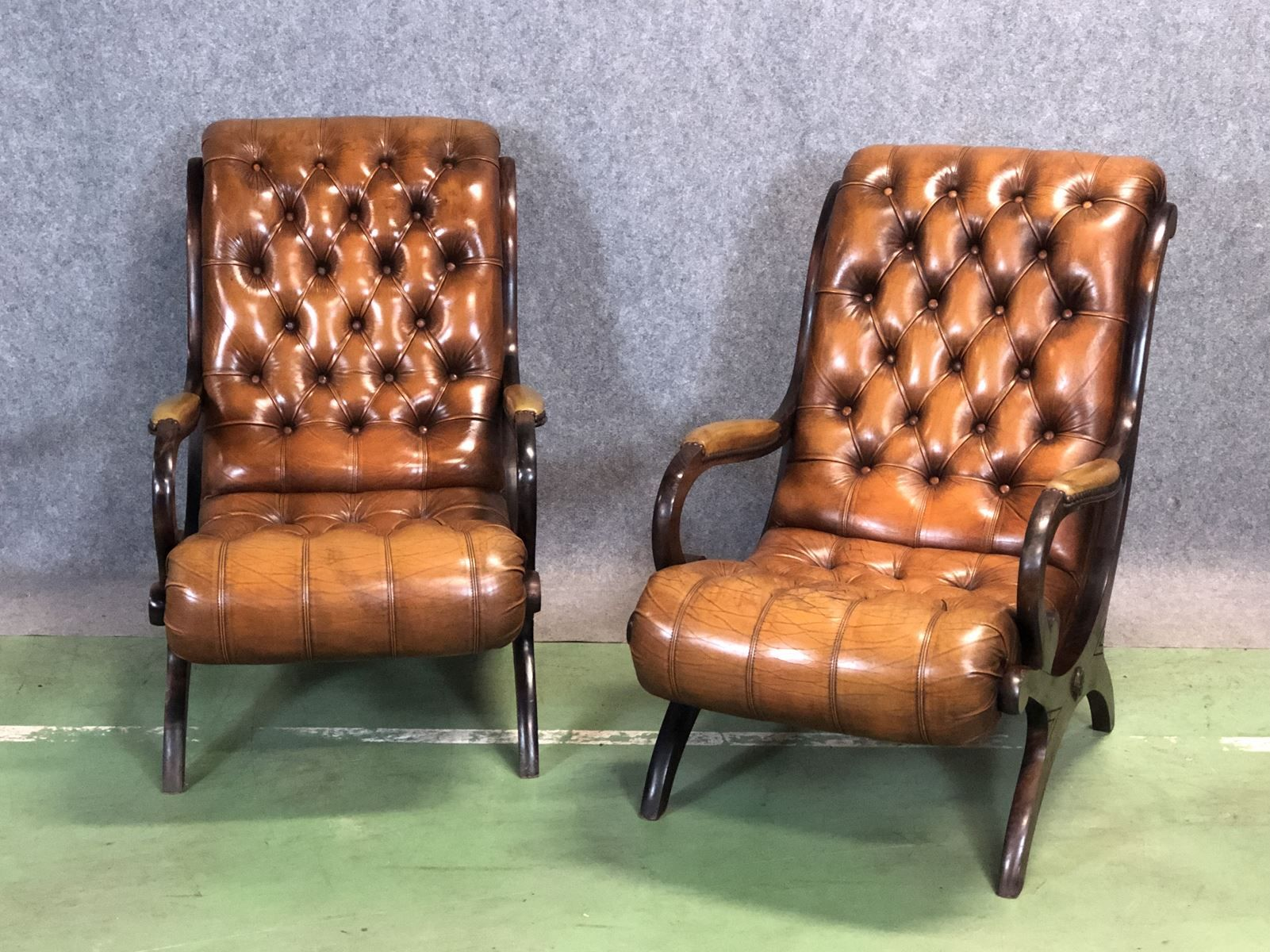 Chesterfield Lounge Leather Chesterfield Lounge Chairs 1950s Set Of 2