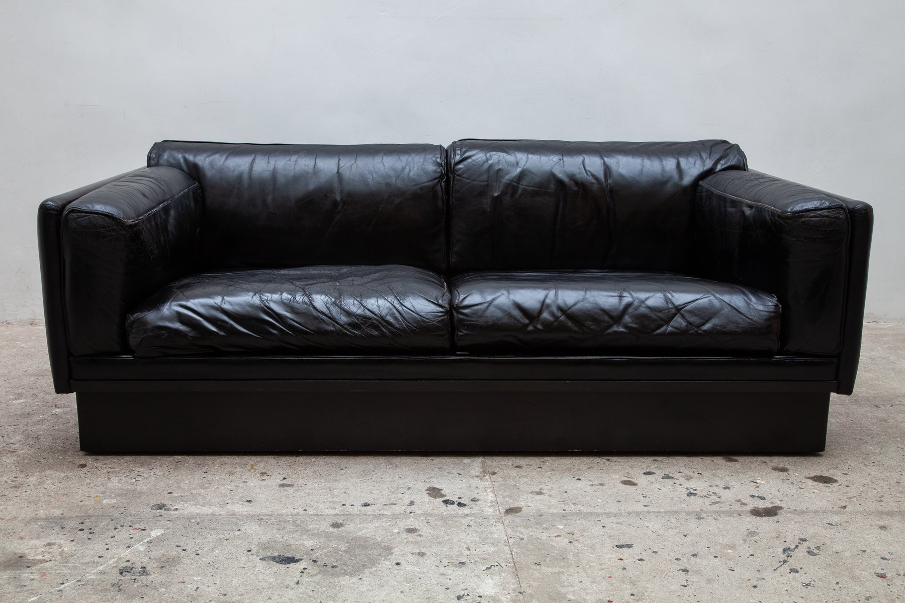 Vintage Belgian Black Leather Couch 1974 For Sale At Pamono
