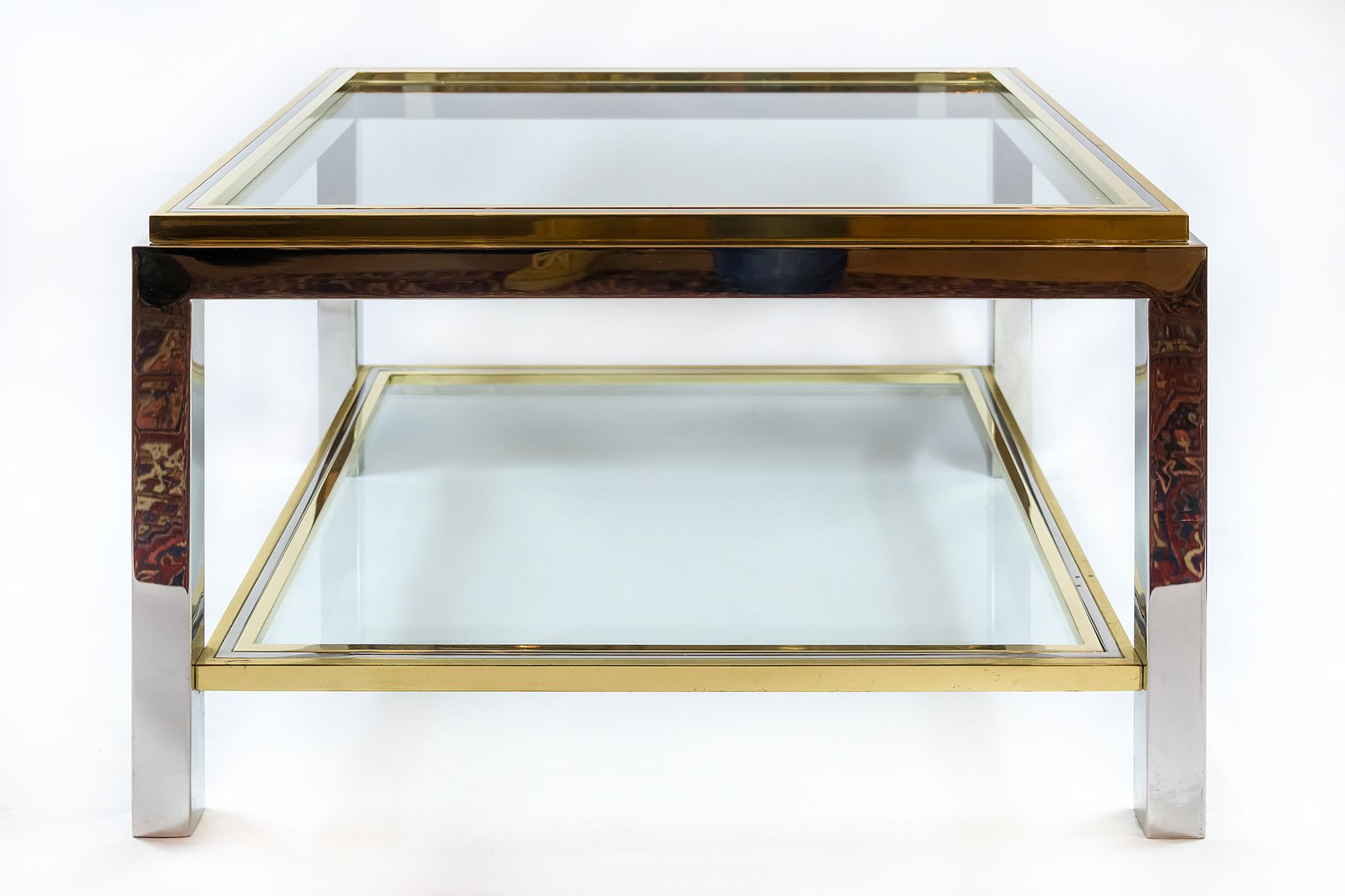 Glasvitrine Chrom Mid Century Italian Brass Chrome And Glass Coffee Table 1960s