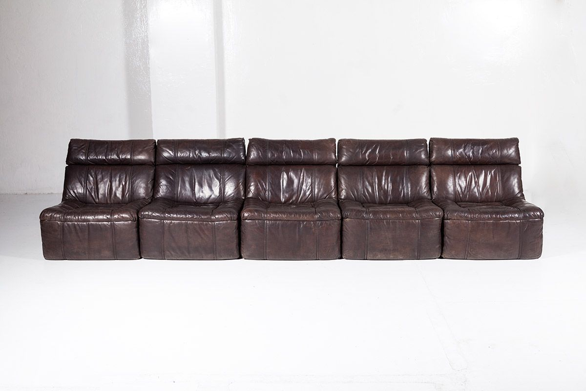 Benz Couch Vintage Modular Leather 5 Piece Sofa From Rolf Benz 1970s