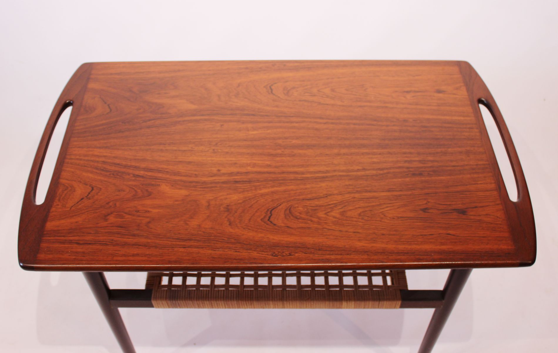 Danish Rosewood Side Table On Wheels With Paper Cord Shelf 1960s For Sale At Pamono