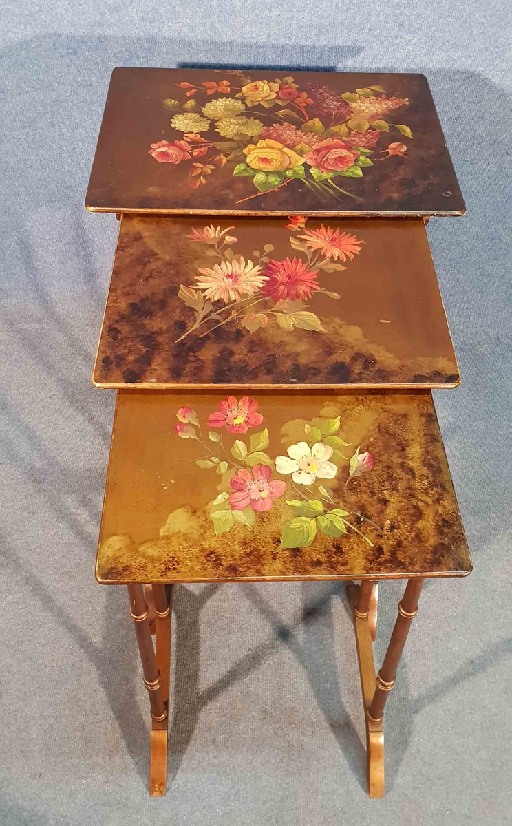 Antique Hand Painted Nesting Tables For Sale At Pamono