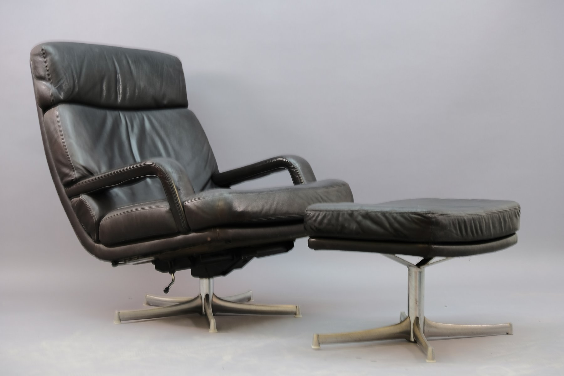Vintage Leather Lounge Chair And Ottoman Set By Bernd Münzebrock For Walter Knoll Wilhelm Knoll 1970s For Sale At Pamono