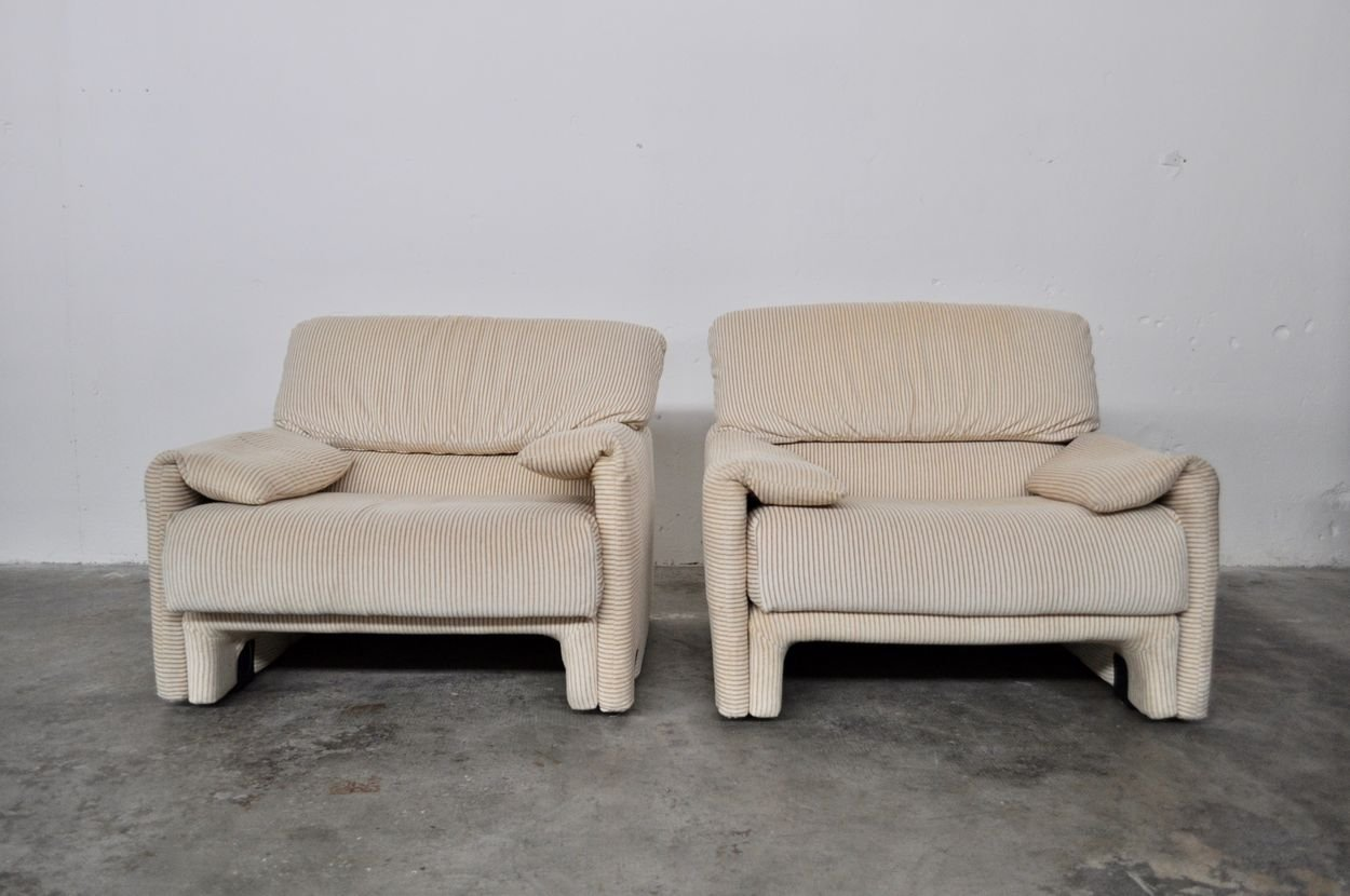 Vintage Italian Beige Corduroy Sofa And Armchairs Set From Linea Italia 1980s For Sale At Pamono