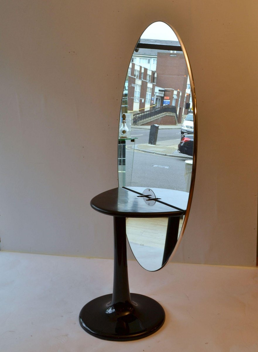 Mid Century Metamorphic Oval Black Glass Table Full Length Oval Vanity Mirror On Tulip Foot Set Of 2 For Sale At Pamono