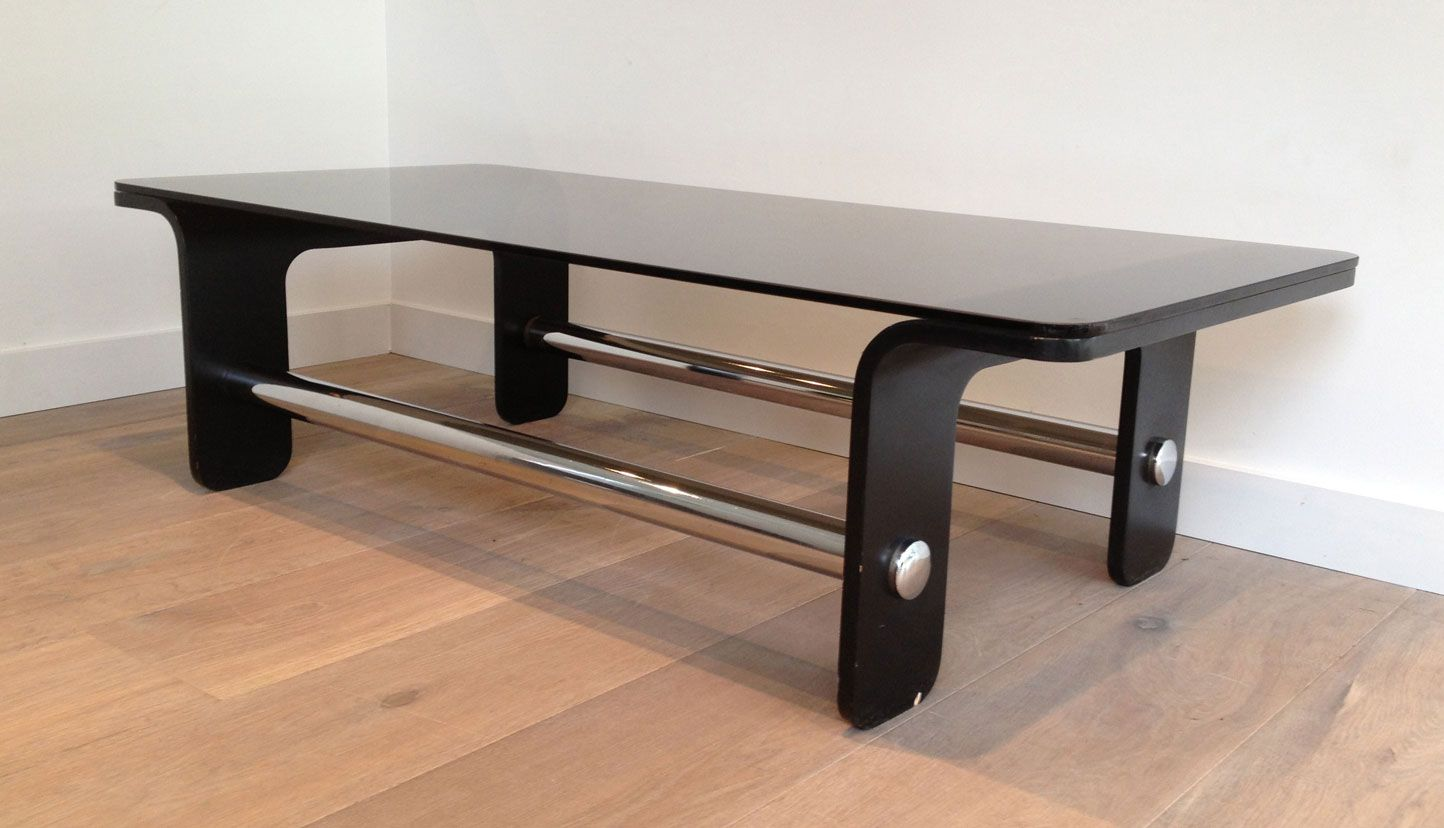 Mid Century Black Coffee Table Mid Century Coffee Table In Black Wood Chrome And Smoked