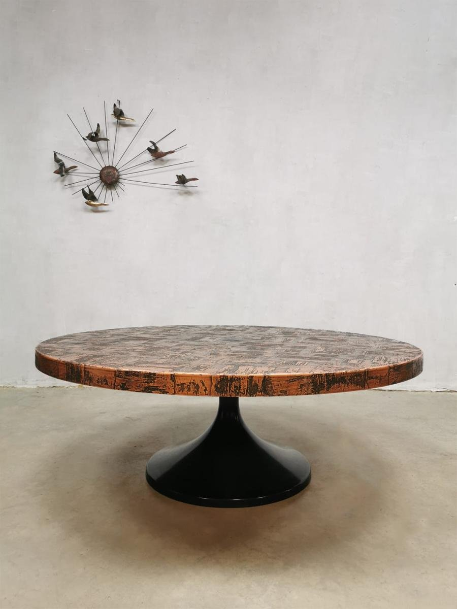 Mid Century Brutalist Copper Tulip Coffee Table 1960s Bei Pamono Kaufen