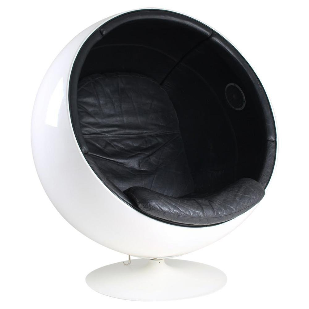 Ball Chair Ball Chair In Leather Upholstery And Speakers By Eero Aarnio, 1970s For Sale At Pamono