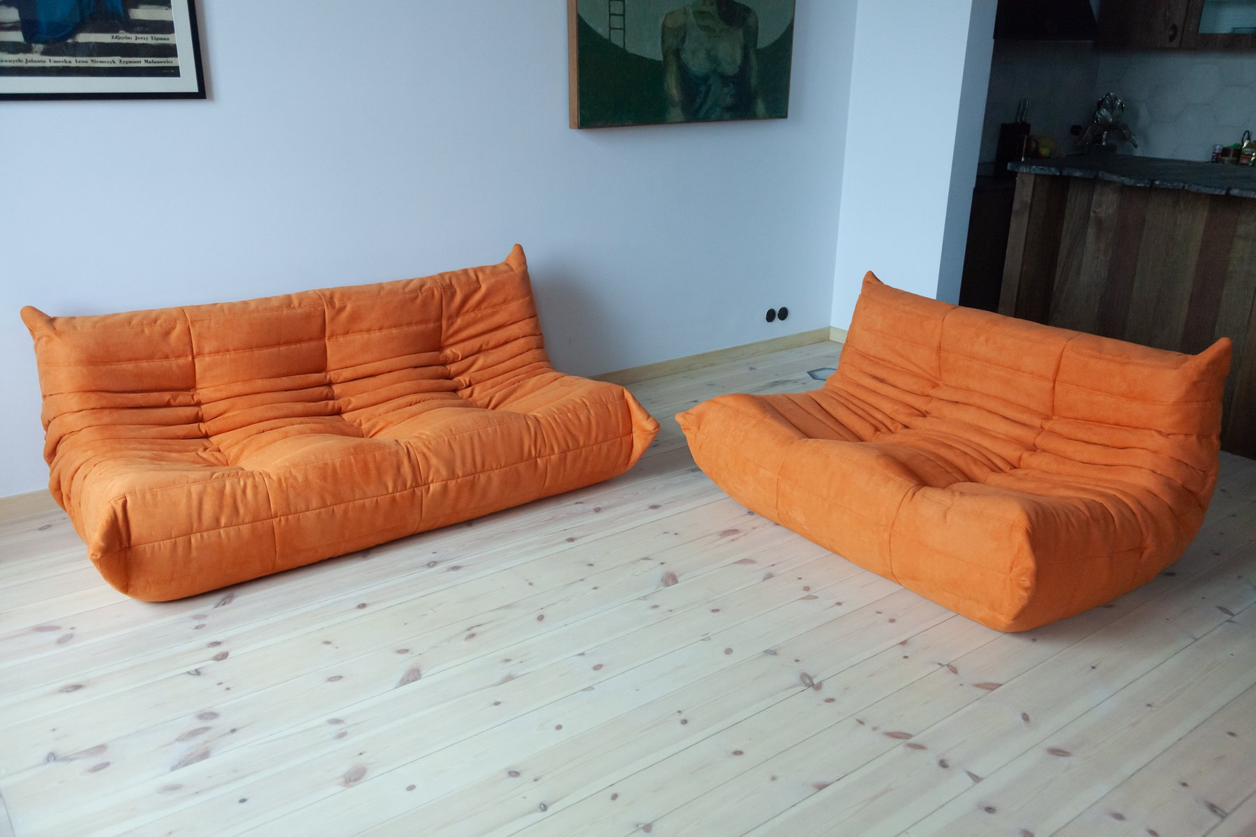 Orange Microfiber Togo 2 Seat 3 Seat Sofa Set By Michel Ducaroy For Ligne Roset 1970s Set Of 2 For Sale At Pamono