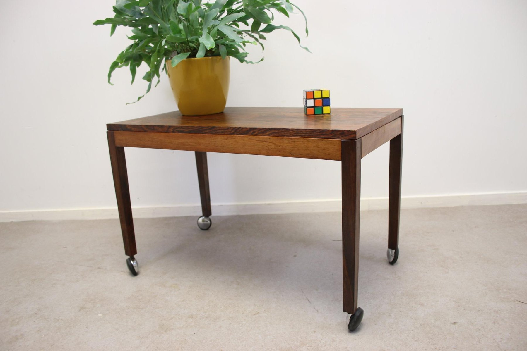 Rosewood End Table On Wheels For Sale At Pamono