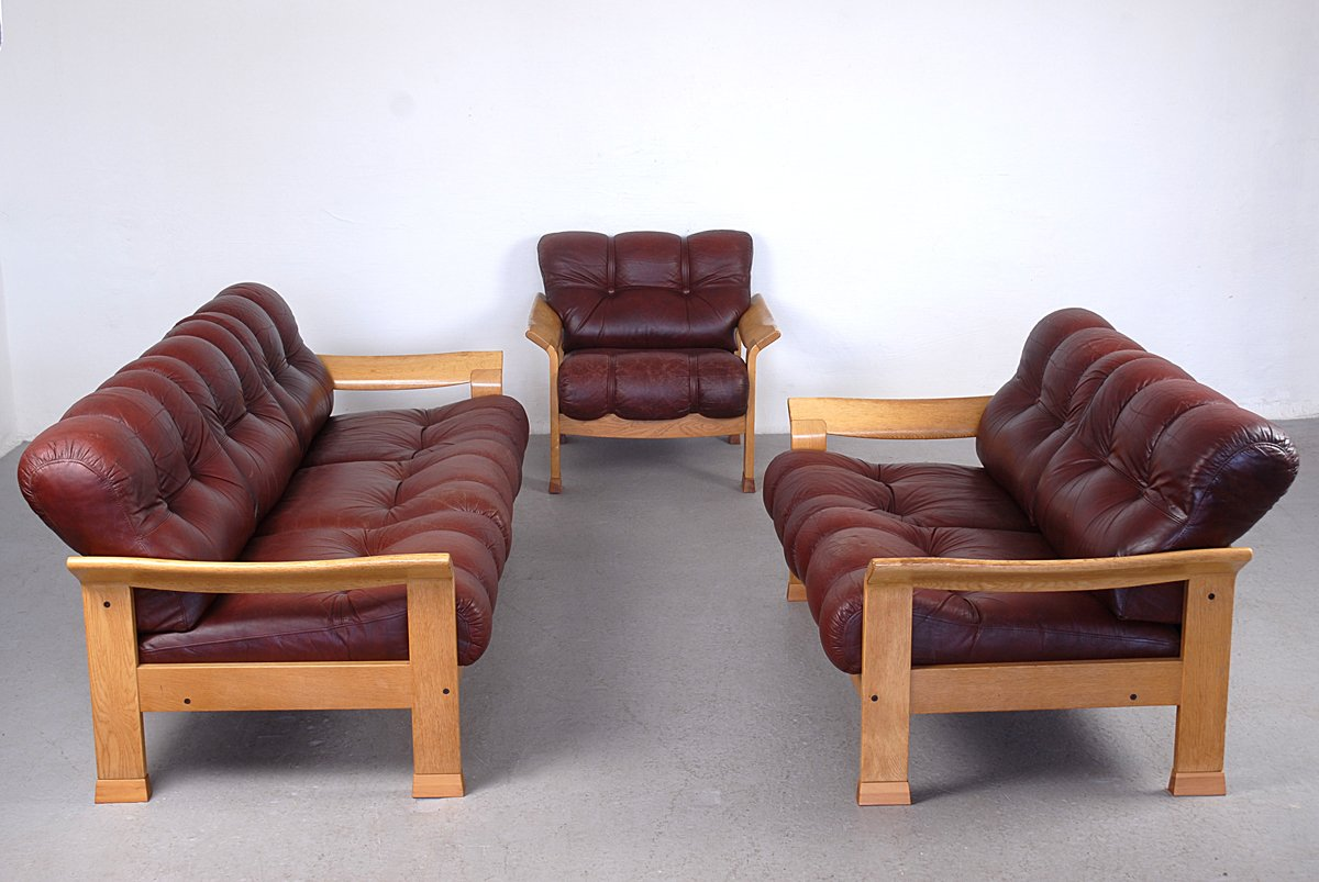 Sofa Set Price In Uae Vintage Danish Brown Leather 3 Piece Sofa Set For Sale At