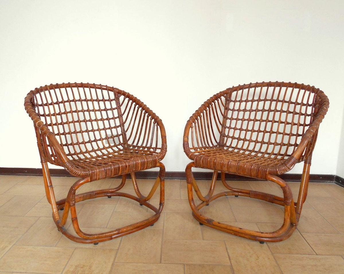 Rattan Chair By Tito Agnoli For Pierantonio Bonacina 1950s For Sale At Pamono