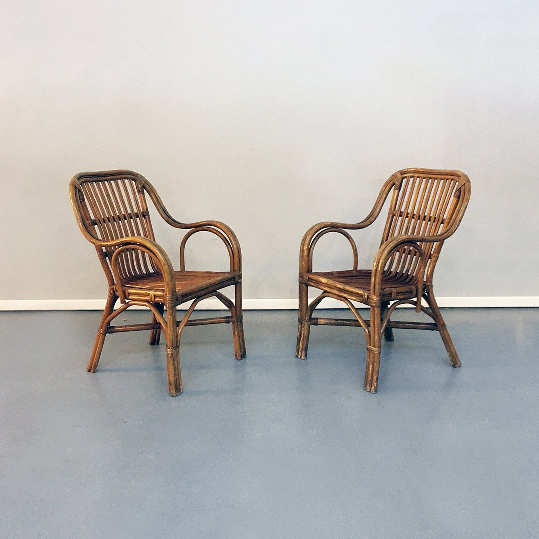 Mid Century Italian Modern Rattan Chairs With Curved Armrests 1960s Set Of 2 For Sale At Pamono