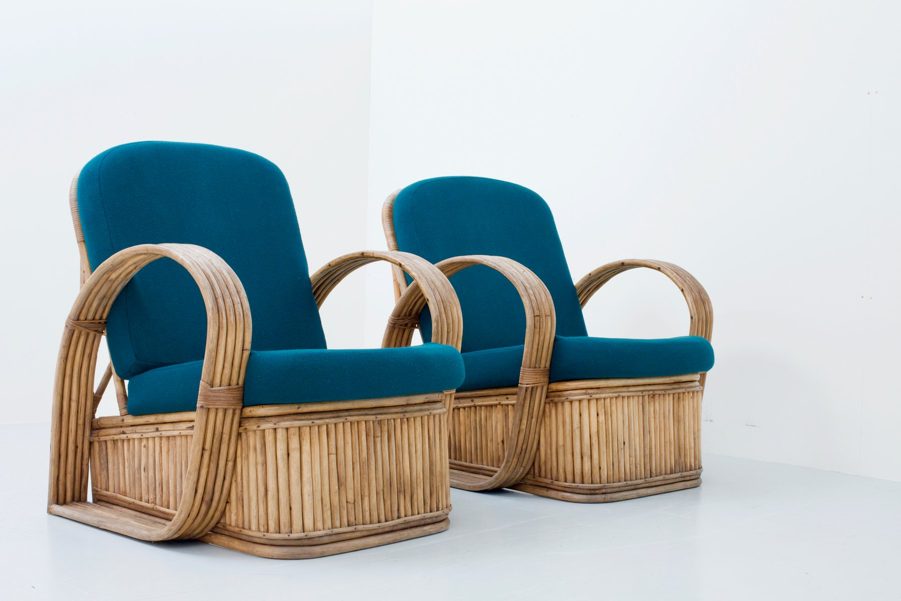 Italian Rattan Chairs In Green Wool 1950s Set Of 2 For Sale At Pamono