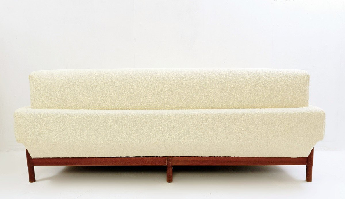 Italian Three Seater Sofa With New Cream White Upholstery For Sale At Pamono