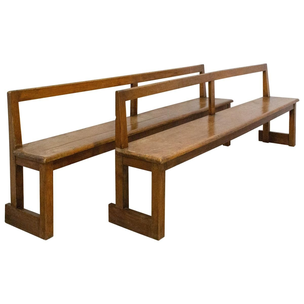 French Antique Style Farmhouse Benches With Backs 1970s Set Of 2 For Sale At Pamono