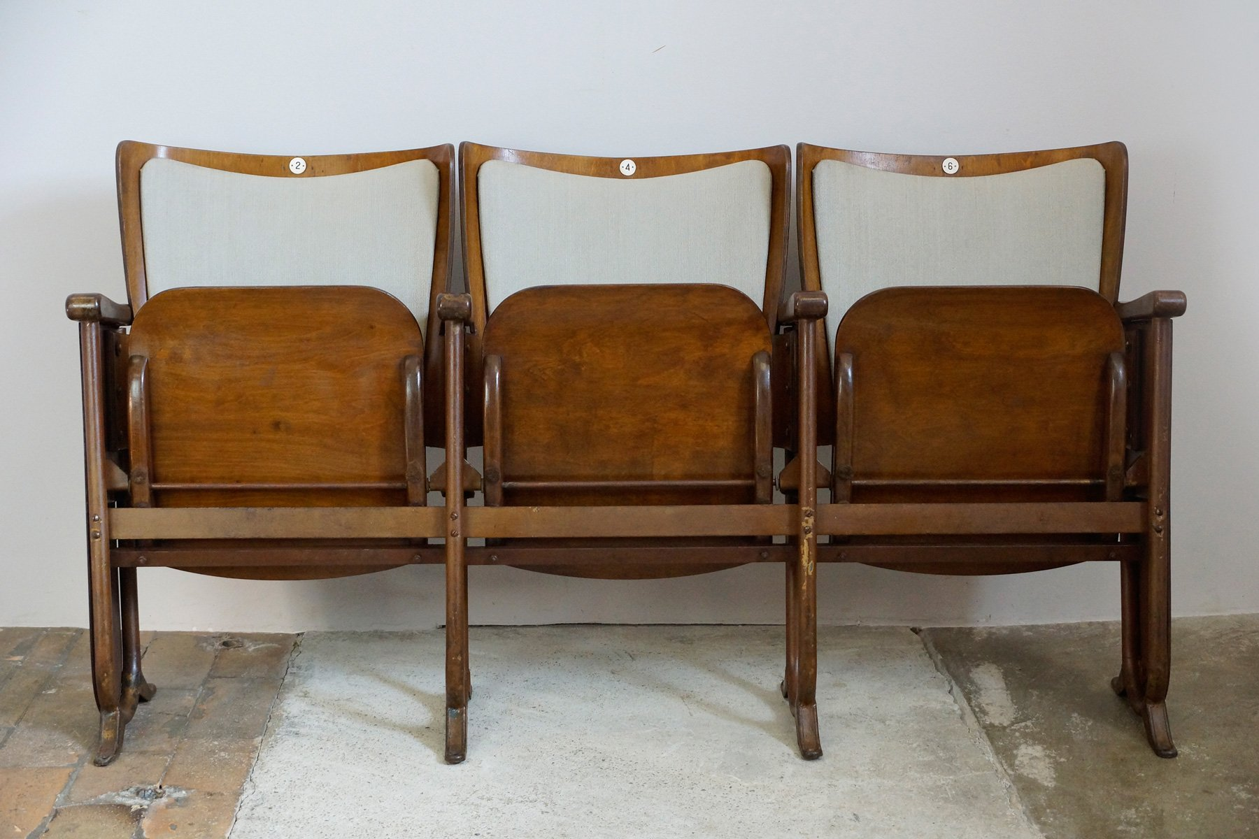 Art Deco 3 Seater Folding Cinema Bench From Fa Fibrocit Brussels Belgium 1930s For Sale At Pamono