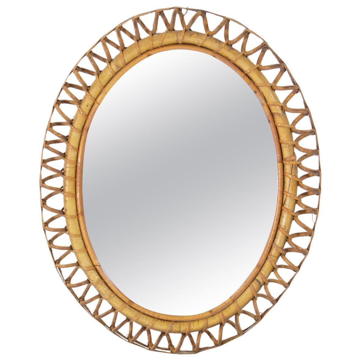 Oval Rattan Mirror Italy 1960s For Sale At Pamono