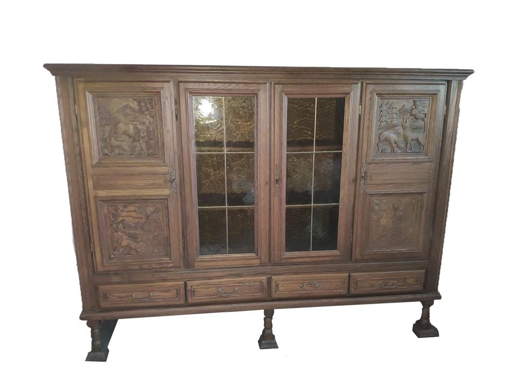 Antique Wooden Display Cabinet With Remarkable Animal Carvings For Sale At Pamono