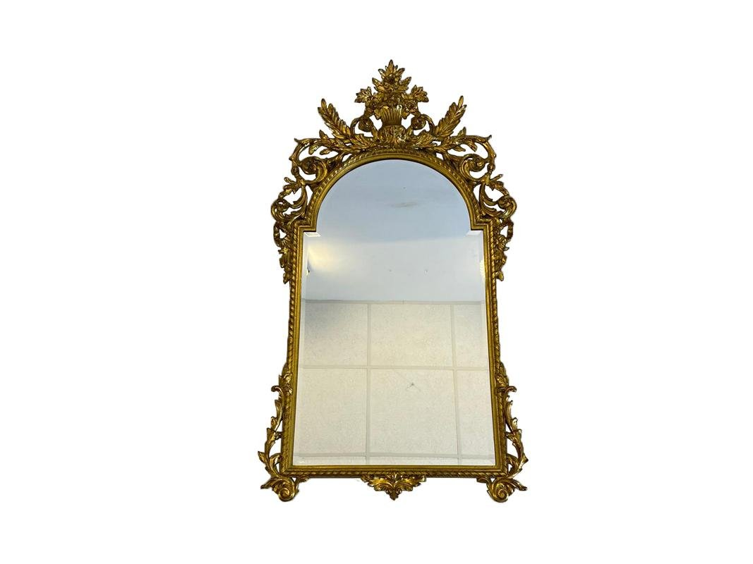 Antique Gold Colored Solid Wood Mirror For Sale At Pamono