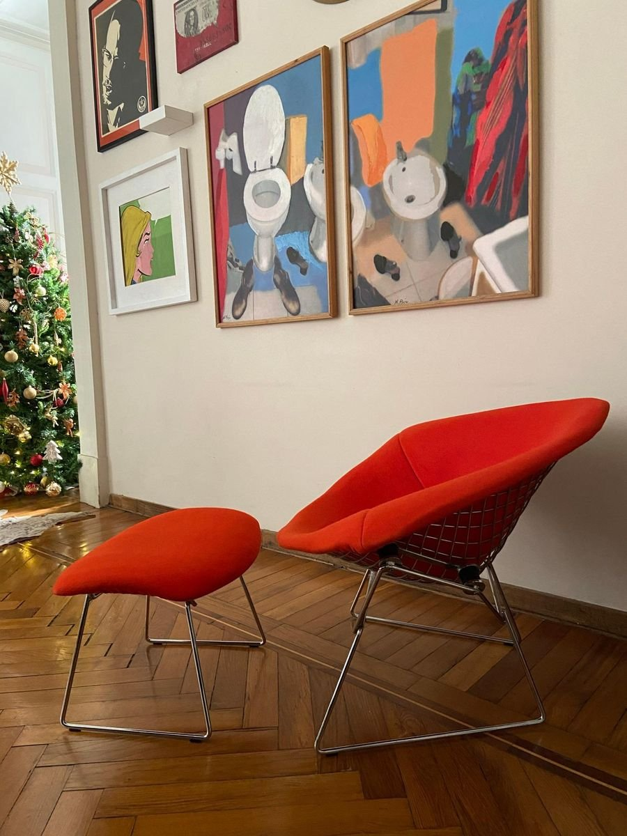 Chromed And Red Large Diamond Chair And Ottoman By Harry Bertoia For Knoll Set Of 2 For Sale At Pamono