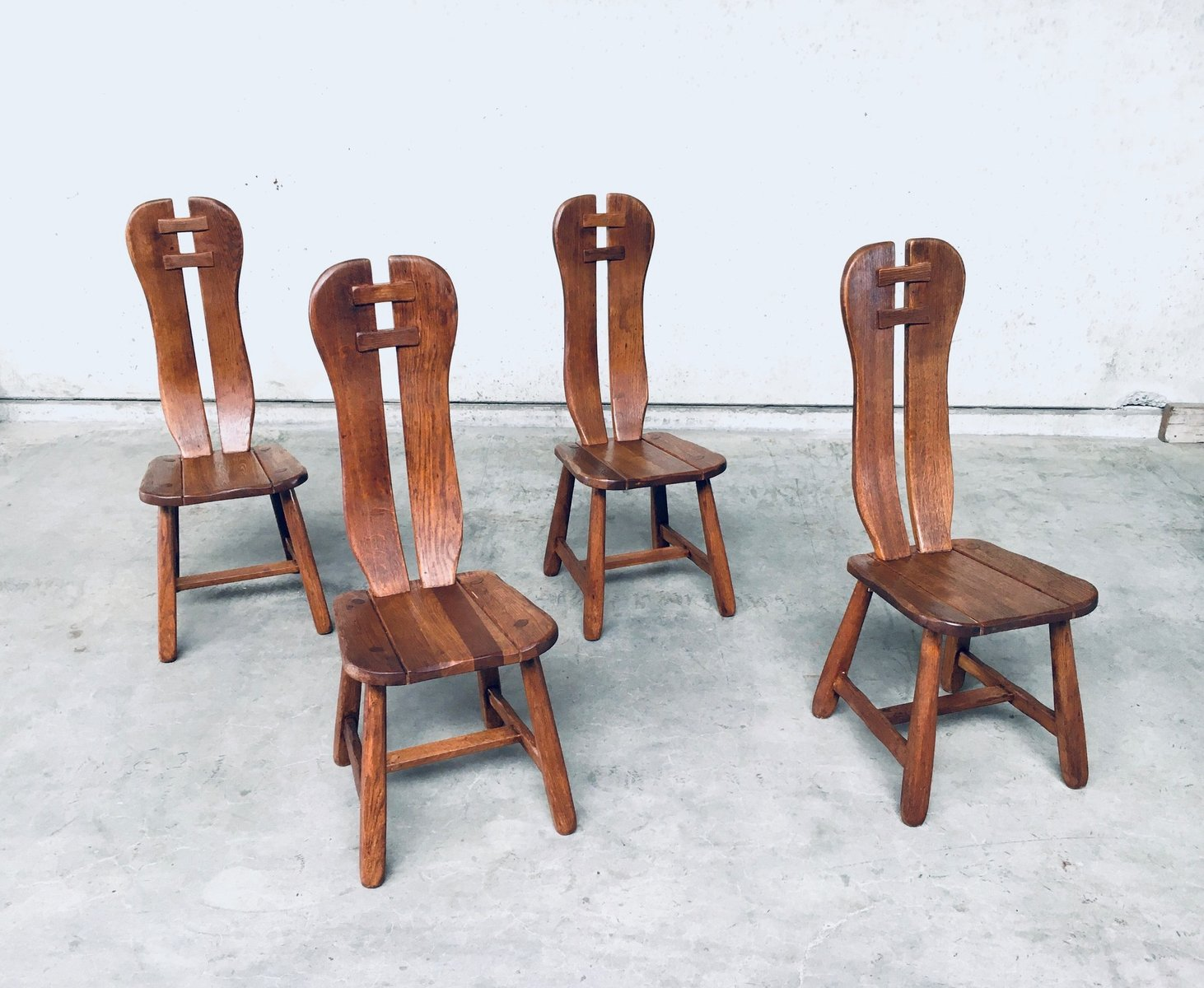 Brutalist Oak Dining Chairs From De Puydt Belgium 1960s Set Of 4 For Sale At Pamono