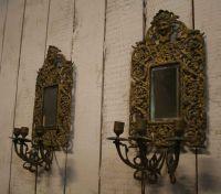 Antique Bronze Wall Mirrored Sconces, Set of 2 en vente ...