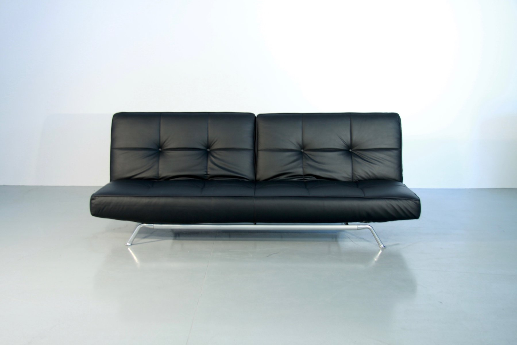 Console Ligne Roset Vintage Smala Black Leather Adjustable Sofabed By Pascal Mourgue For Ligne Roset
