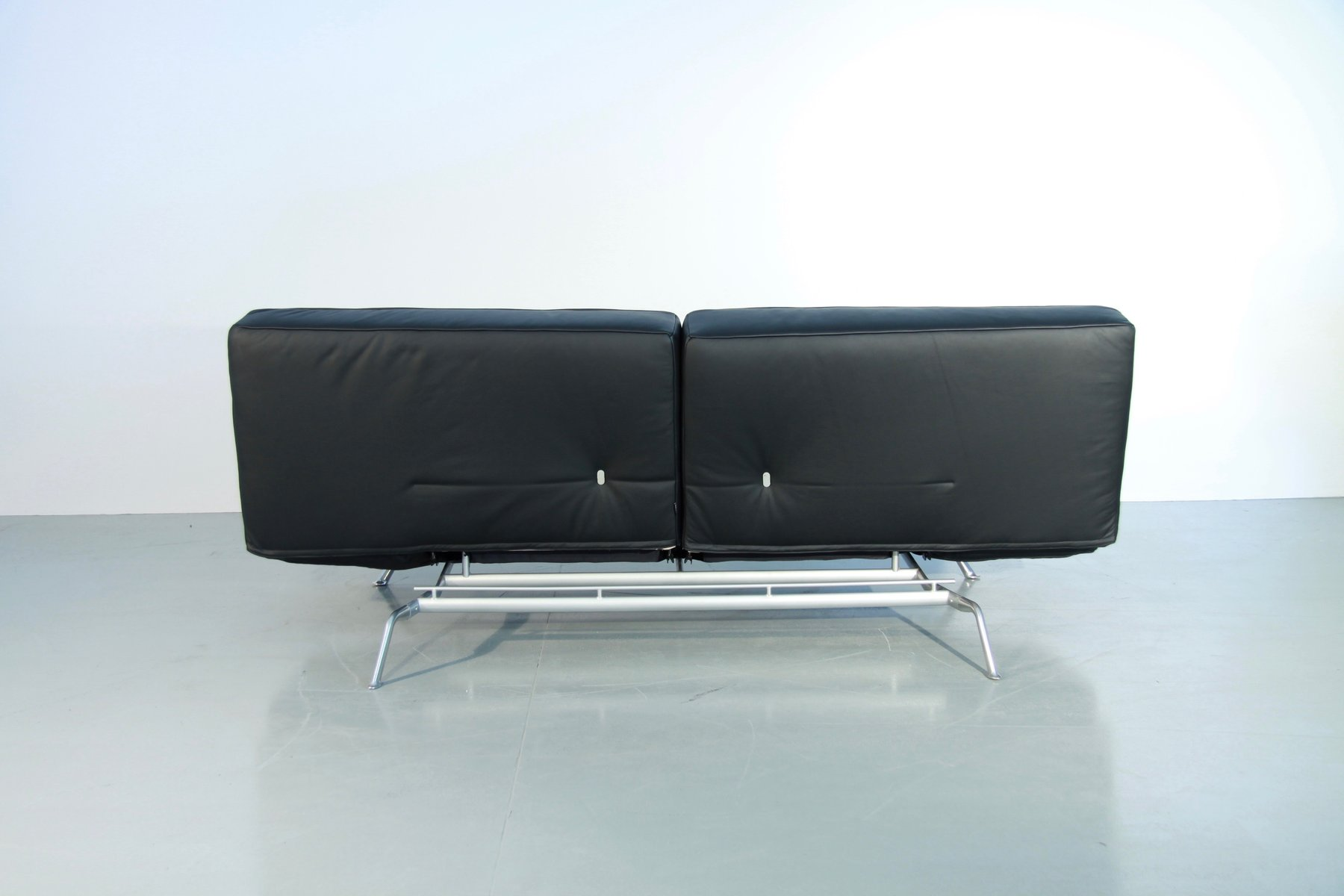 Cinna Smala Vintage Smala Black Leather Adjustable Sofabed By Pascal Mourgue For Ligne Roset