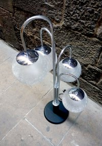 Vintage Table Lamp with 4 Glass Globes for sale at Pamono
