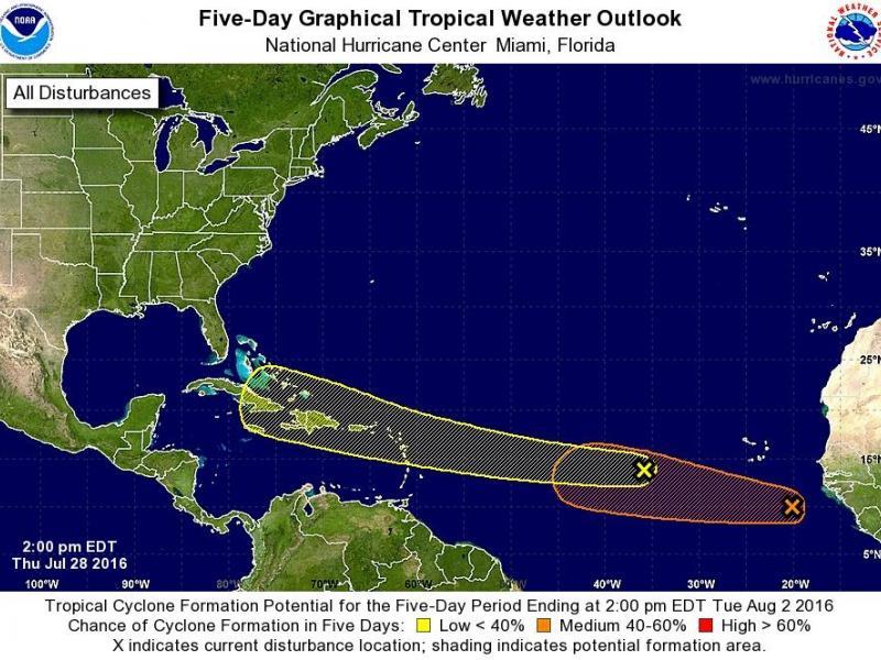 2 Tropical Disturbances Churning in Atlantic Ocean Clearwater, FL