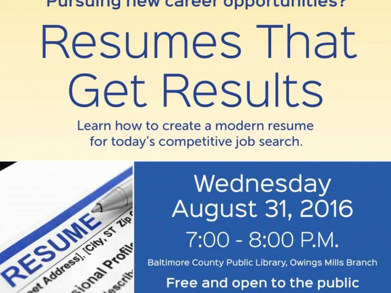 Resumes That Get Results Pikesville, MD Patch