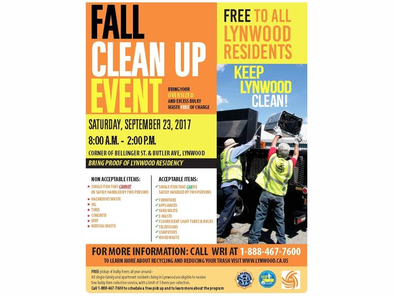 Fall 2017 Clean-Up for LYNWOOD residents South Gate, CA Patch