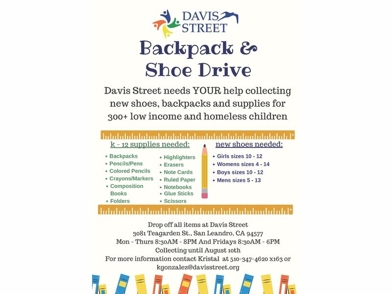 Davis Street Backpack and Shoe Drive San Leandro, CA Patch