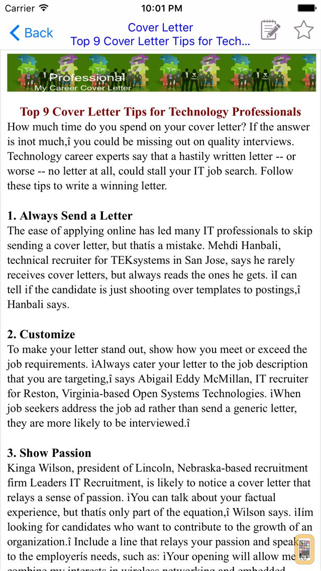 Cover Letter for iPhone  iPad - App Info  Stats iOSnoops