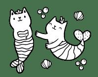 Disegno di Gatti sirena da Colorare - Acolore.com