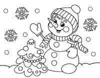 Disegno di Pupazzo di neve cartolina di Natale da Colorare