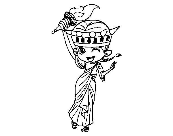 Disegno di Statua della libert manga da Colorare