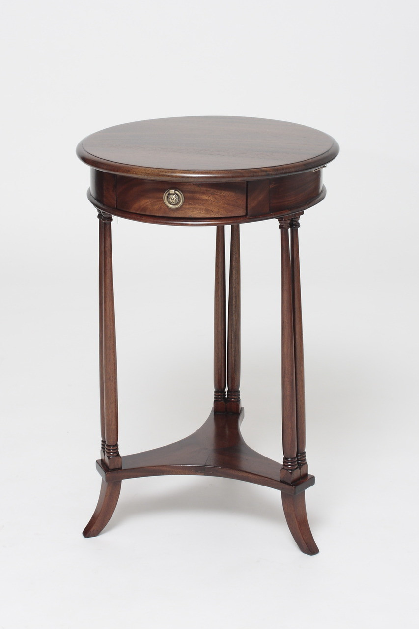 Mahogany Round Side Table Laurel Crown