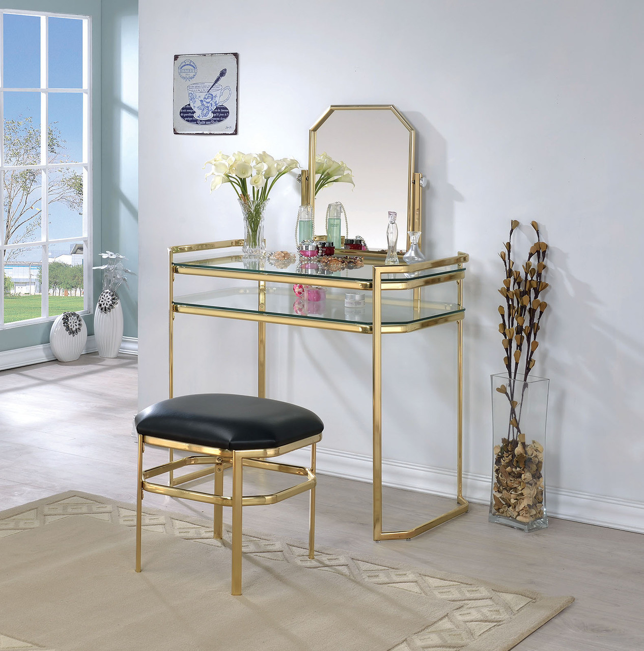 Metal Makeup Vanity Table Set Arabella Gold Metal Makeup Vanity Table Set With Mirror
