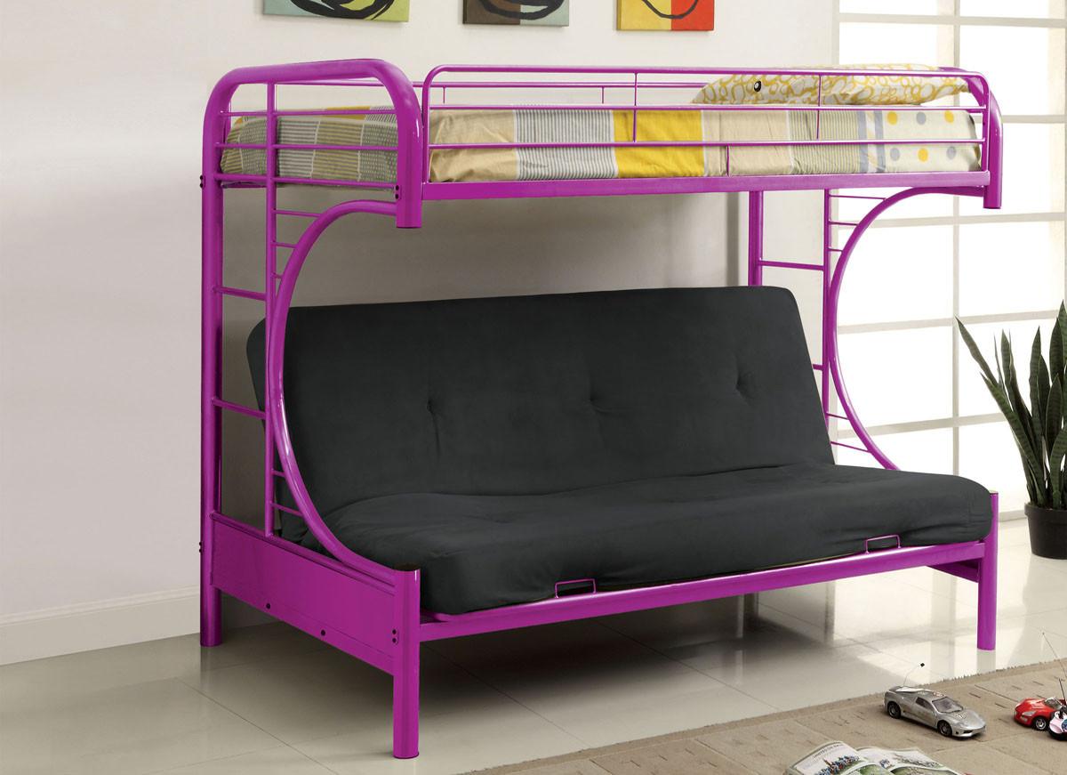 Big-sofa Fontana Fontana Metal Twin Futon Bunk Bed Purple Green Black