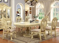 "112"" Versailles Antique White Formal Dining Table Set"