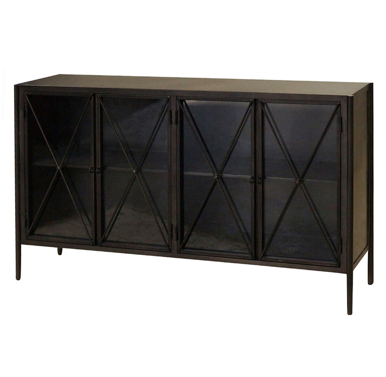 Industrial Aged Black Metal Media Console Sideboard With - Sideboard Industrial Metall